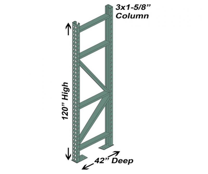 42″ D x 120″ H Interchangeable Upright – 3″ x 1 5/8″ Column 1