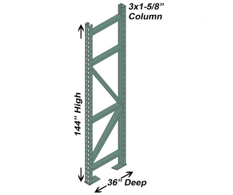 36″ D x 144″ H Interchangeable Upright – 3″ x 1 5/8″ Column 1