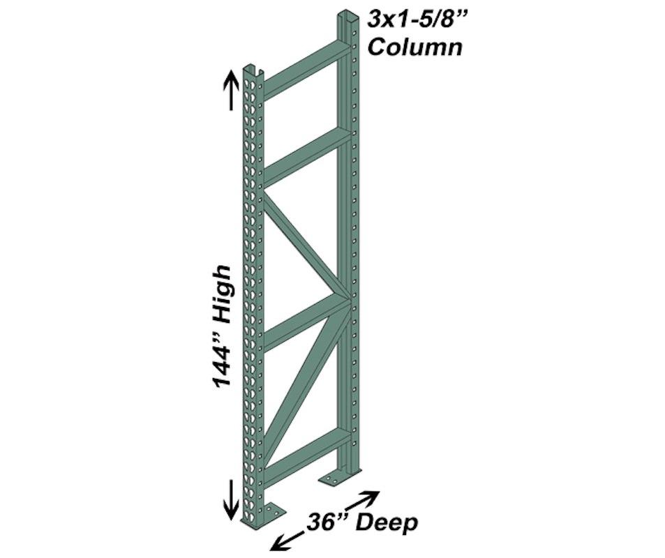 """36"""" D x 144"""" H Interchangeable Upright - 3"""" x 1 5/8"""" Column"""