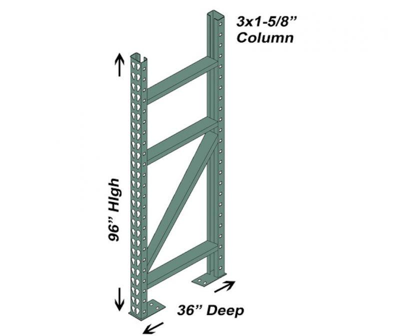 36″ D x 96″ H Interchangeable Upright – 3″ x 1 5/8″ Column 1