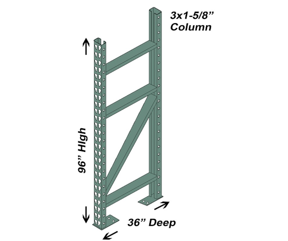 "36"" D x 96"" H Interchangeable Upright - 3"" x 1 5/8"" Column"