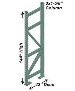 "42"" D x 144"" H Interchangeable Upright - 3"" x 1 5/8"" Column"