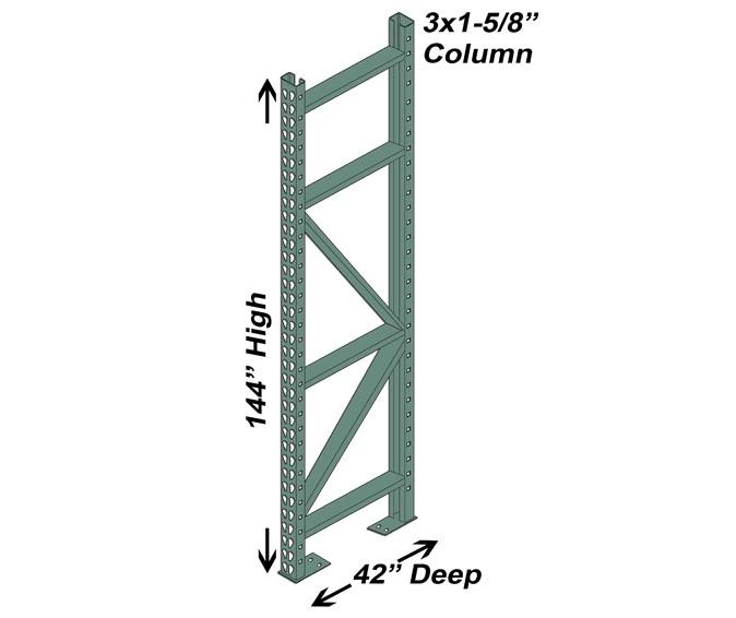 """42"""" D x 144"""" H Interchangeable Upright - 3"""" x 1 5/8"""" Column"""
