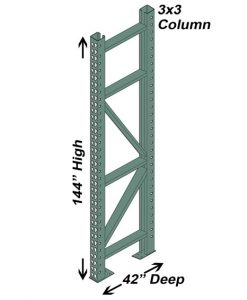 "42"" D x 144"" H Interchangeable Upright - 3"" x 3"" Column"