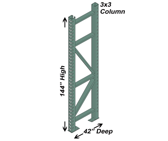 42″ D x 144″ H Interchangeable Upright – 3″ x 3″ Column 1