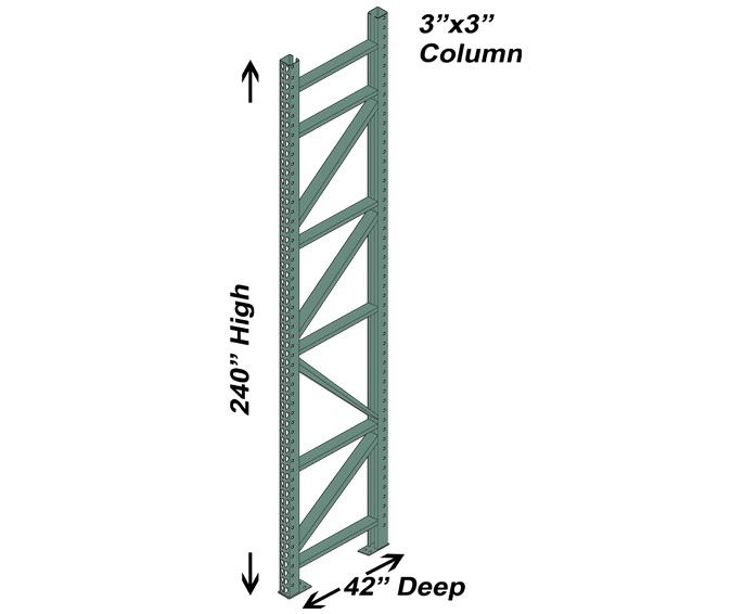 42″ D x 240″ H Interchangeable Upright – 3″ x 3″ Column 1