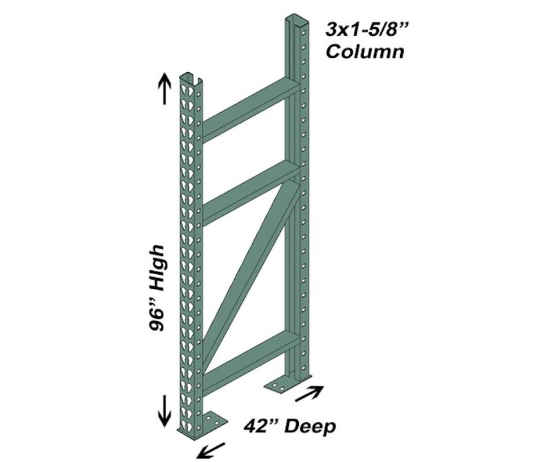 42″ D x 96″ H Interchangeable Upright – 3″ x 1 5/8″ Column 1