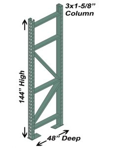 "48"" D x 144"" H Interchangeable Upright - 3"" x 1 5/8"" Column"