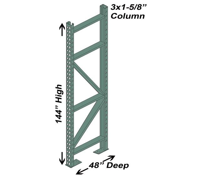48″ D x 144″ H Interchangeable Upright – 3″ x 1 5/8″ Column 1
