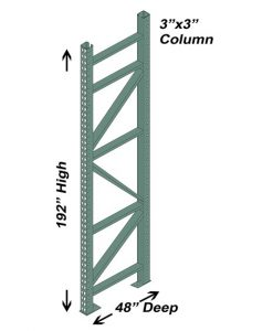 "48"" D x 192"" H Interchangeable Upright - 3"" x 3"" Column"