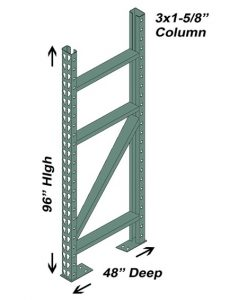 "48"" D x 96"" H Interchangeable Upright - 3"" x 1 5/8"" Column"