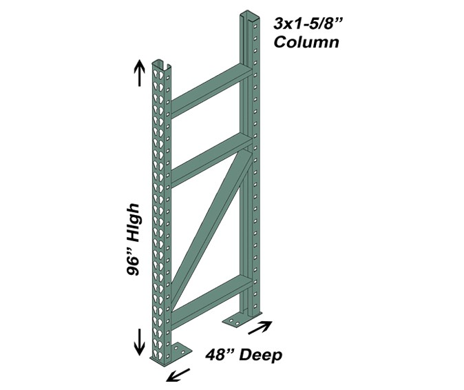 48″ D x 96″ H Interchangeable Upright – 3″ x 1 5/8″ Column 1