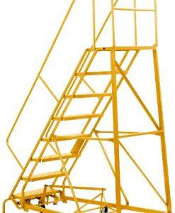 13 Step - Heavy-Duty Steel Warehouse Rolling Ladder