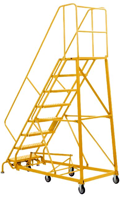 15 Step - Heavy-Duty Steel Warehouse Rolling Ladder