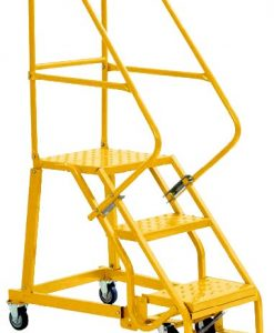 3 Step - Heavy-Duty Steel Warehouse Rolling Ladder