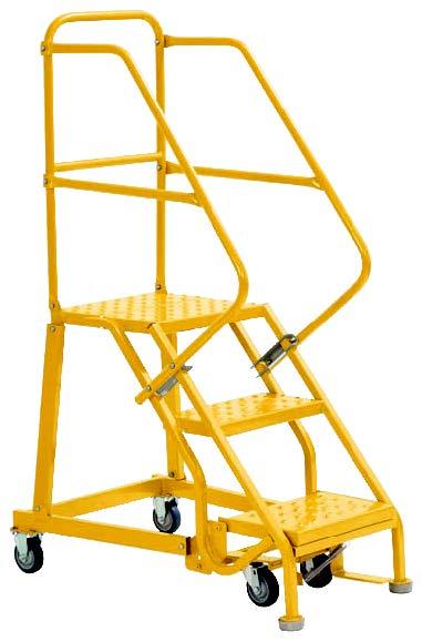 3 Step - Heavy-Duty Steel Warehouse Rolling Ladder