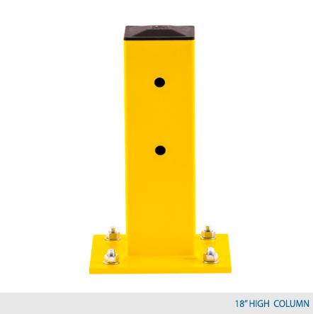 "18"" H Single Rail Column Post - Offset Base Plate"
