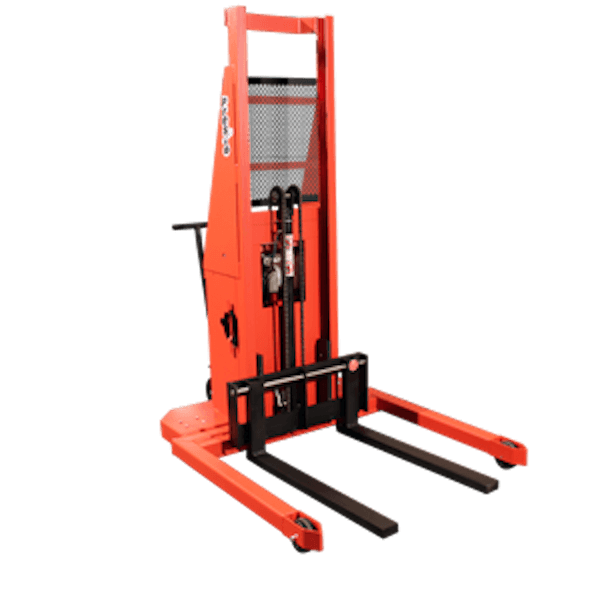 Presto Lifts Powered Straddle Pallet Stacker PSTA27127 PSTA Series Adjustable Base Straddle (35″ I.D. to 50″ I.D.) Raised Height 127″ – 2700 Lbs