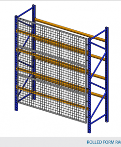 "Rack Guard Panel 8' W x 4' H (exact panel size 94"" W x 47"" H) - Framed 2"" x 2"" x 10GA welded wire mesh"