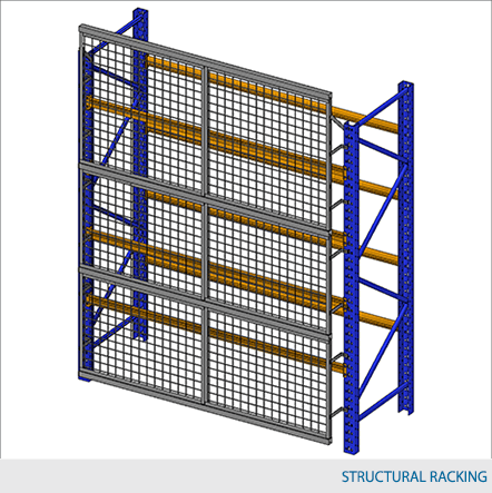 """Rack Guard Panel 8' W x 5' H (exact panel size 94"""" W x 59"""" H) - Framed 2"""" x 2"""" x 10GA welded wire mesh"""