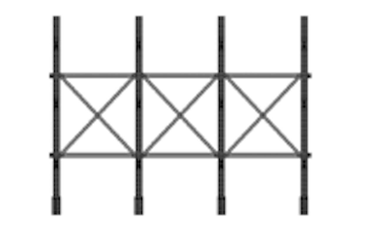 "Horizontal brace Type 1 for columns 48"" c/c"