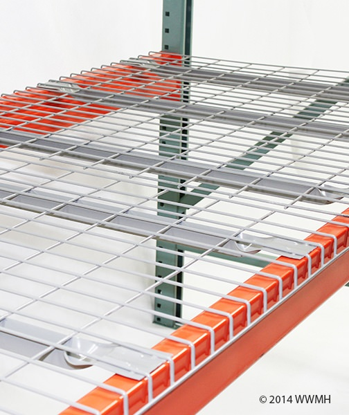 """30"""" D x 46"""" W Wire Mesh Deck 2500 Lbs. Capacity Flared Support"""