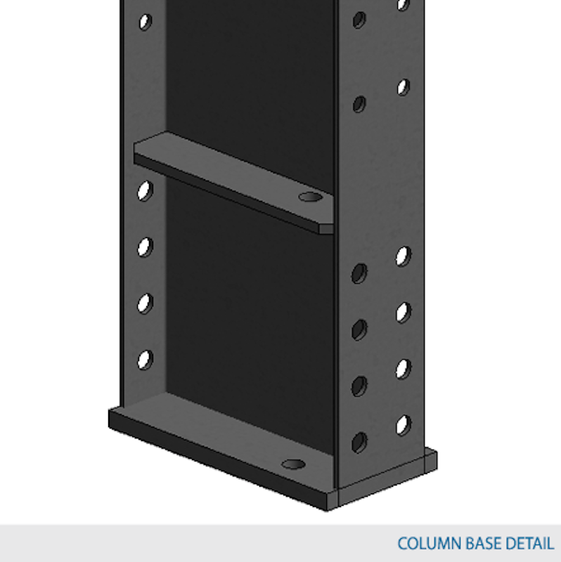 Double-Sided Type 1 Column 12'H w/ 16,000 lbs max load capacity (W12 X 16 column with W12 x 16 base)