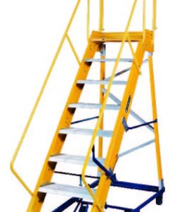14 Step - Fiberglass Safeguard Mobile Platform Rolling Ladder