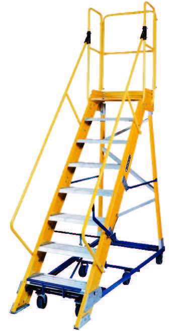 12 Step – Fiberglass Safeguard Mobile Platform Rolling Ladder 1