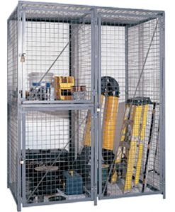 "Double-Tier Industrial Storage Locker 7'6""H x 3'0""W x 5'0""D - framed 2""x2""x10GA welded wire mesh (Starter Unit)"