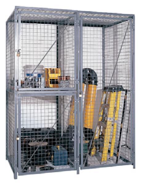 Double-Tier Industrial Storage Locker 7'6″H x 3'0″W x 5'0″D – framed 2″x2″x10GA welded wire mesh (Starter Unit) 1