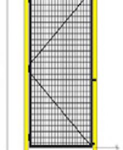 """Robotic Machine Guarding Single Hinge Door 3' Wide x 7'2"""" High (includes transom tube above) - Framed 2"""" x 1"""" x 10GA welded wire mesh"""