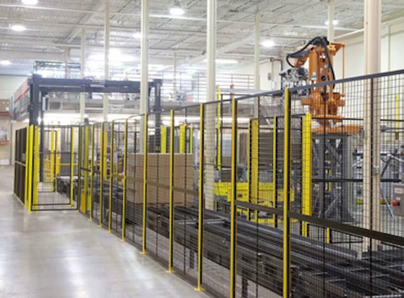 "Robotic Machine Guarding Panel - 4'-8"" Wide x 7'-2"" High (exact panel size) - Framed 2""x1""x10GA welded wire mesh"