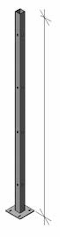 Original Partition Line Post 10′ High – 2″ x 2″ post welded to a 6″ x 6″ base plate 1